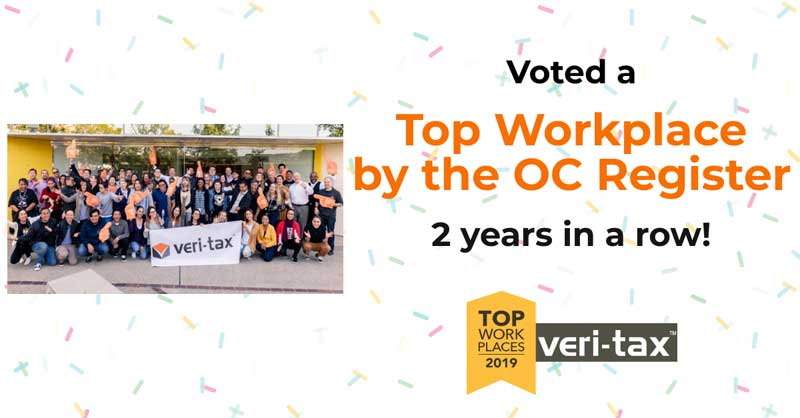 Veri-Tax Voted a Top Workplace by The Orange County Register Again!