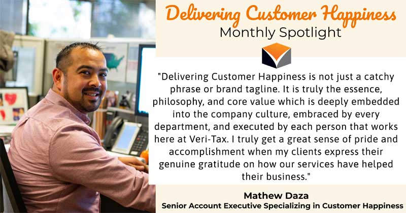 Delivering Customer Happiness Monthly Spotlight – featuring Mathew Daza