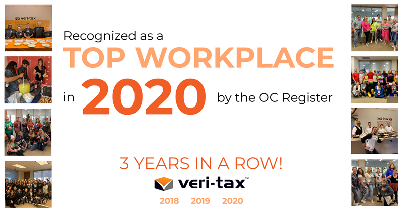 Veri-Tax Voted a Top Workplace by The Orange County Register!