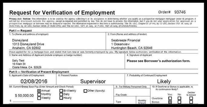 Request for Verification of Employment - Card Example