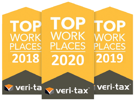 Top Work Places - 2018, 2019, 2020